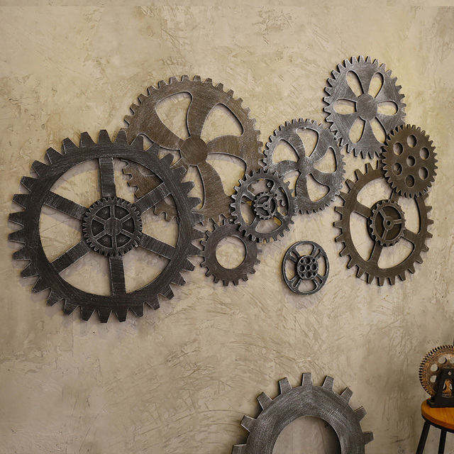 Wooden Gear Wall Stickers Diy Art Decor For Living Room Pub Cafe Office Craft