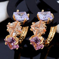 Trendy  Crystal Gold Plated Hoop Earrings Rhinestone Jewelry Boucle D'Oreille Brincos Haut Femme Dubai African Jewelry