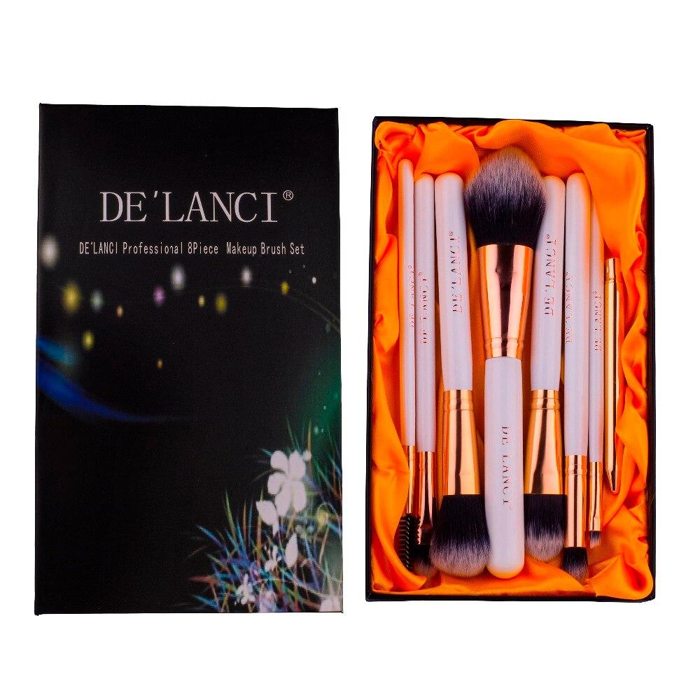 DELANCI 8Pcs Makeup Brush Set Eyebrow Foundation Powder Face Eyeliner Lip Brushes Makeup Beauty Tools With Box Christmas Gift