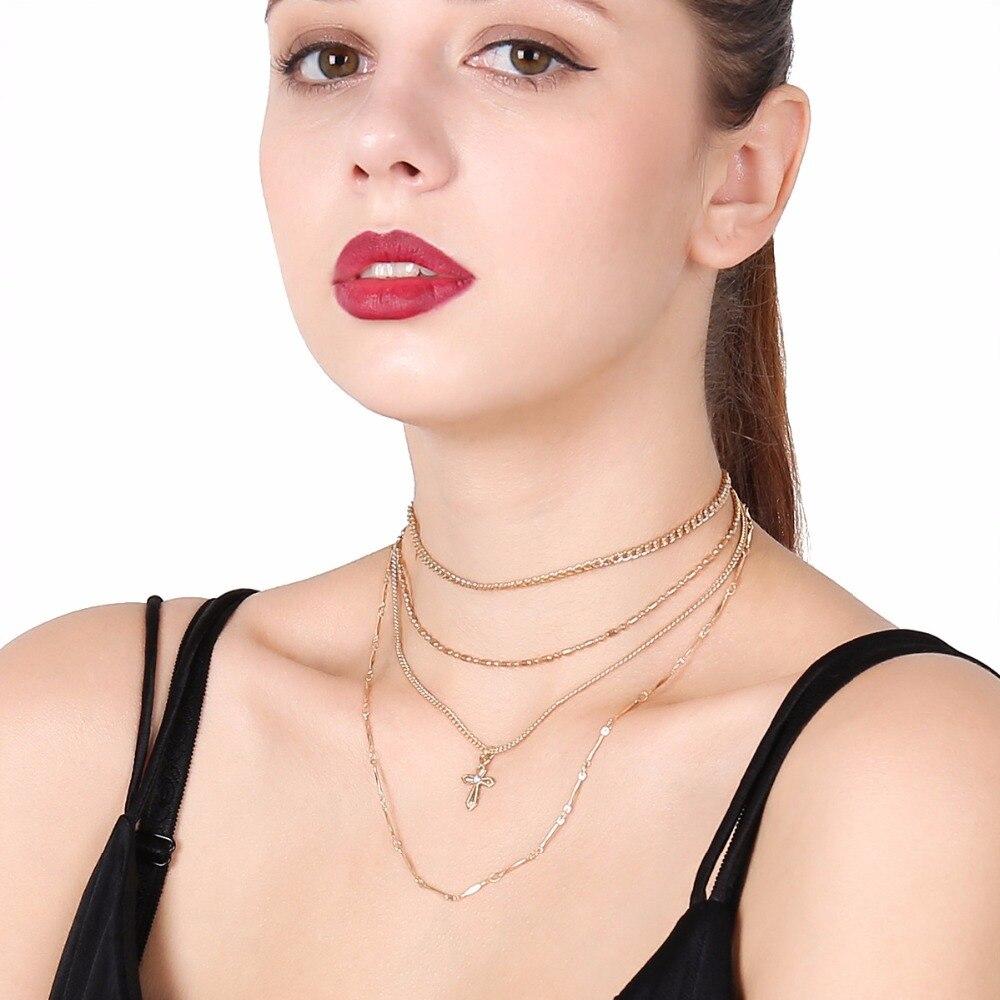 cross chain pendant neklace women fashion jewelry layered necklace collier ras du cou