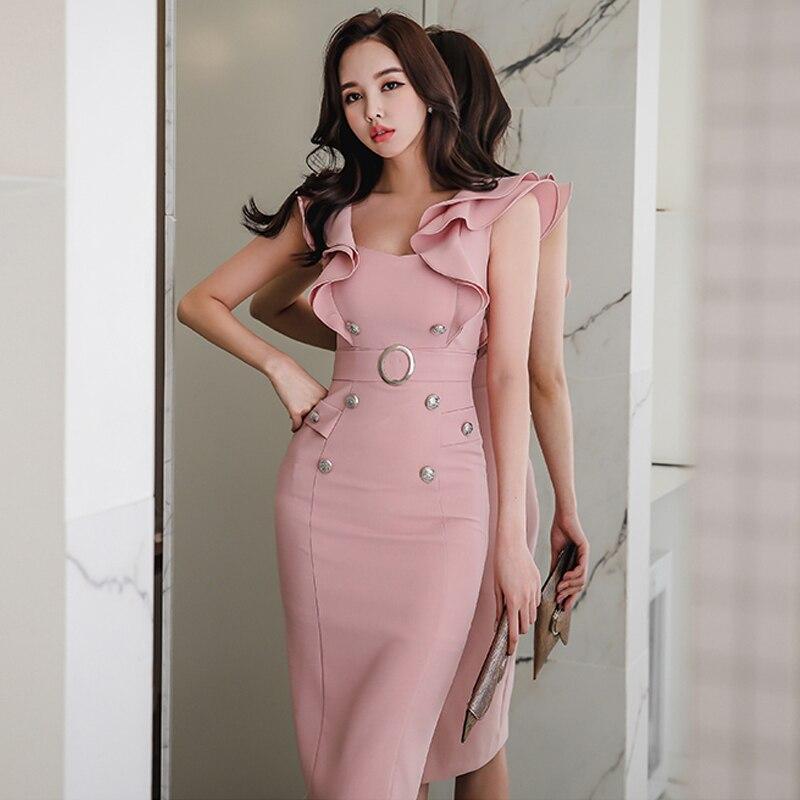 F10259 рюшами женское платье тонкий талией Bodycon Карандаш платья длиной до колен Элегантные Платья для вечеринок vestidos femme