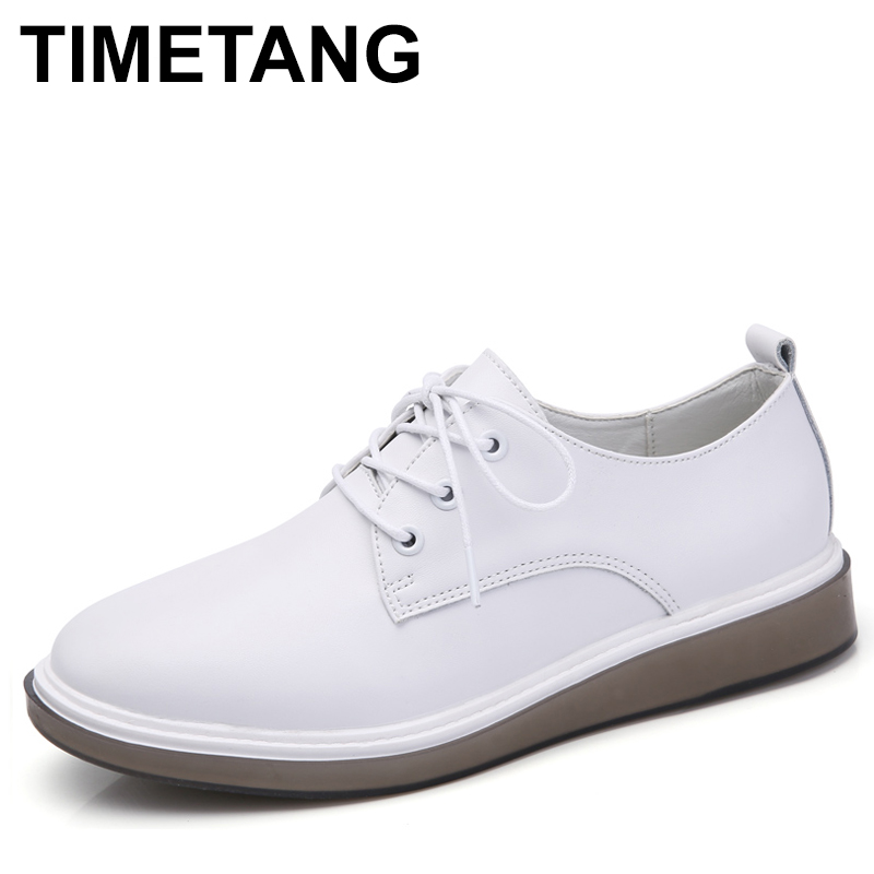 TIMETANG Women Genuine Leather Flats Brogue Shoes Oxford White Black Lace Up shoe Pointed Toe Ladies Casual Shoes Zapatos Mujer 2017 women genuine leather brogue flats shoes patent leather lace up pointed toe luxury brand red blue black pink creepers