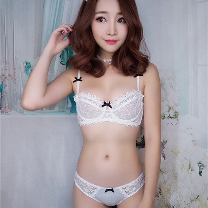 New sexy gather Charming solid color breathable underwear deep v half cup lace transparent thin girl bra set