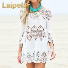 2018 Summer Women Beach Mini White Dress Elegant Half Sleeve O Neck Lace Floral Crochet Hollow Out Solid Beach Dress Vestidos
