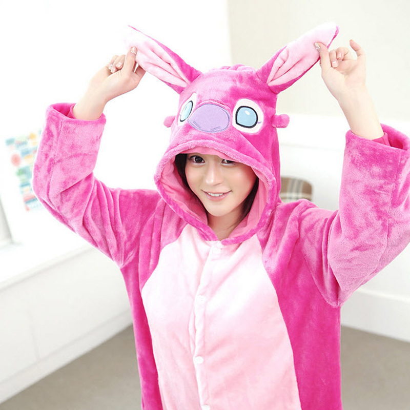 5970bba1d5 Women Character Stitch Pajamas Set Adult Coral Fleece Sleepwear Animal  Pajama Womens Full Sleeve Hooded Pijama Flannel Pijamas-in Pajama Sets from  Underwear ...