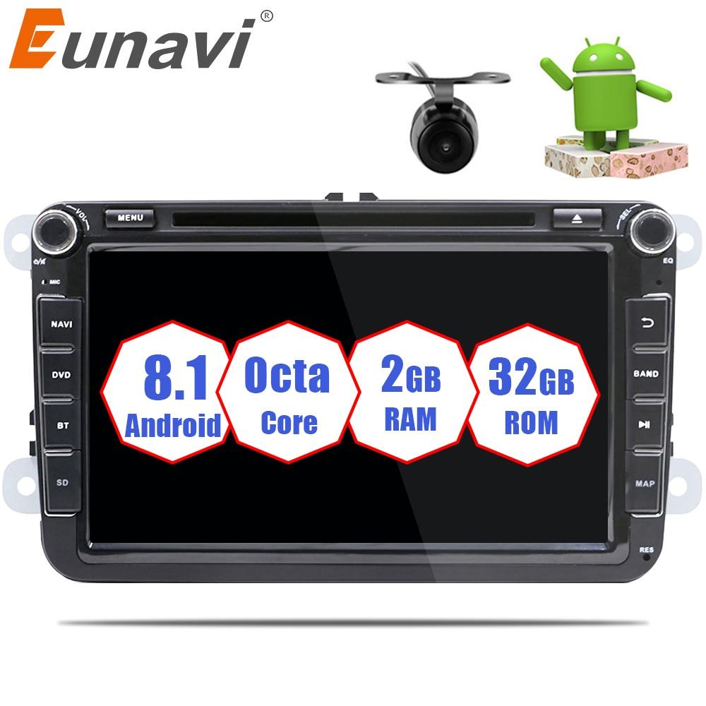 Eunavi 2 Din 8 ''Android 8.1 vw voiture dvd pour Polo Jetta Tiguan VW passat b6 cc fabia miroir lien bluetooth wifi Radio dans le tableau de bord