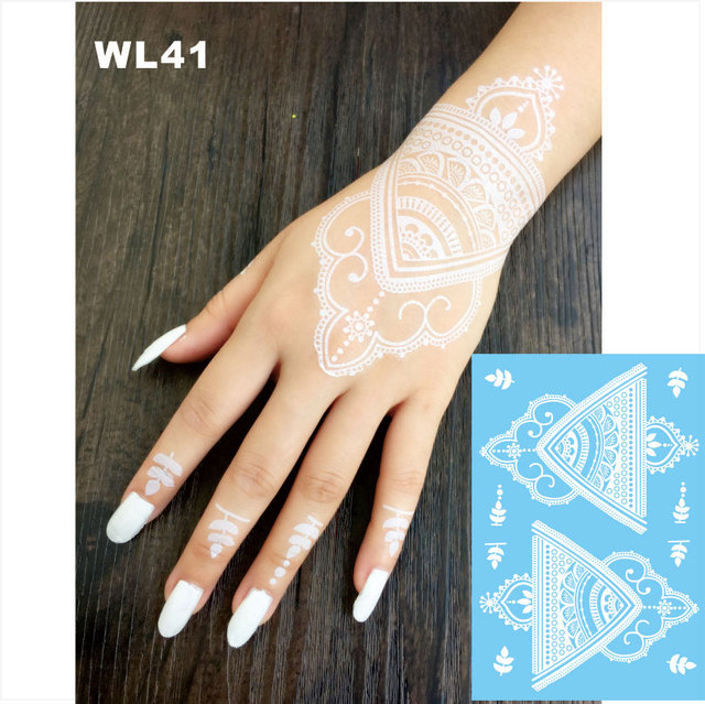 Wl 41 Indah Putih Henna Temporary Tato Tangan Dekorasi Sticker Untuk