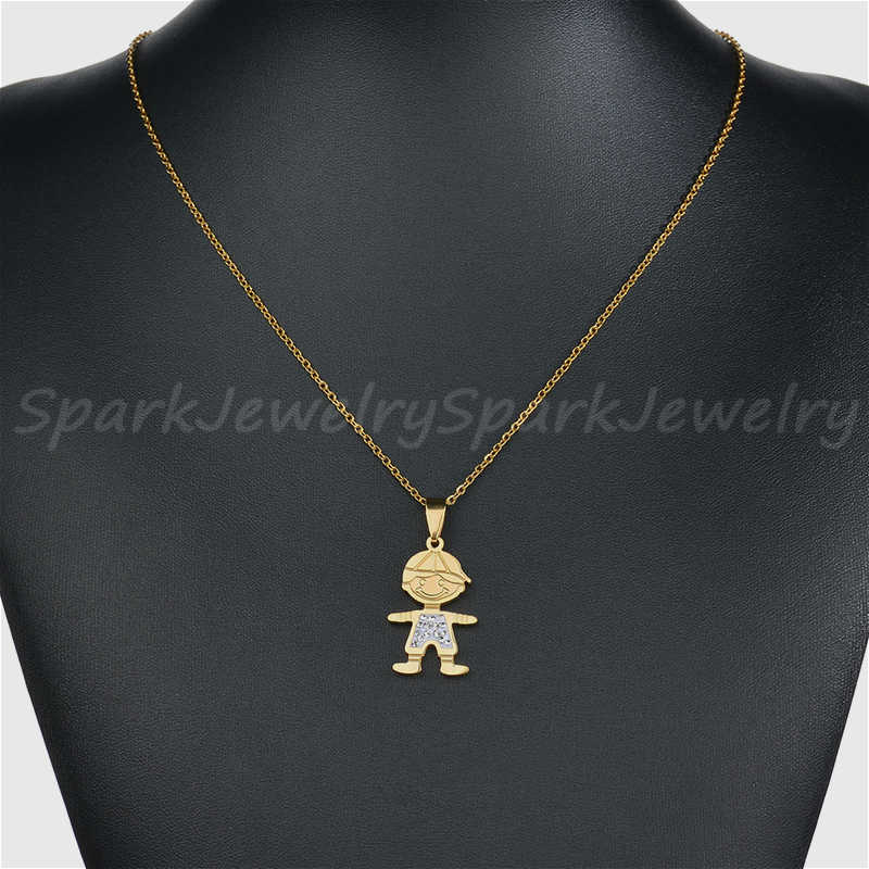 Fashion Rhinestone Boy Girl Family Necklace For Women Lovely Stainless Steel Figure Son daughter Chain Necklace Jewelry Gift