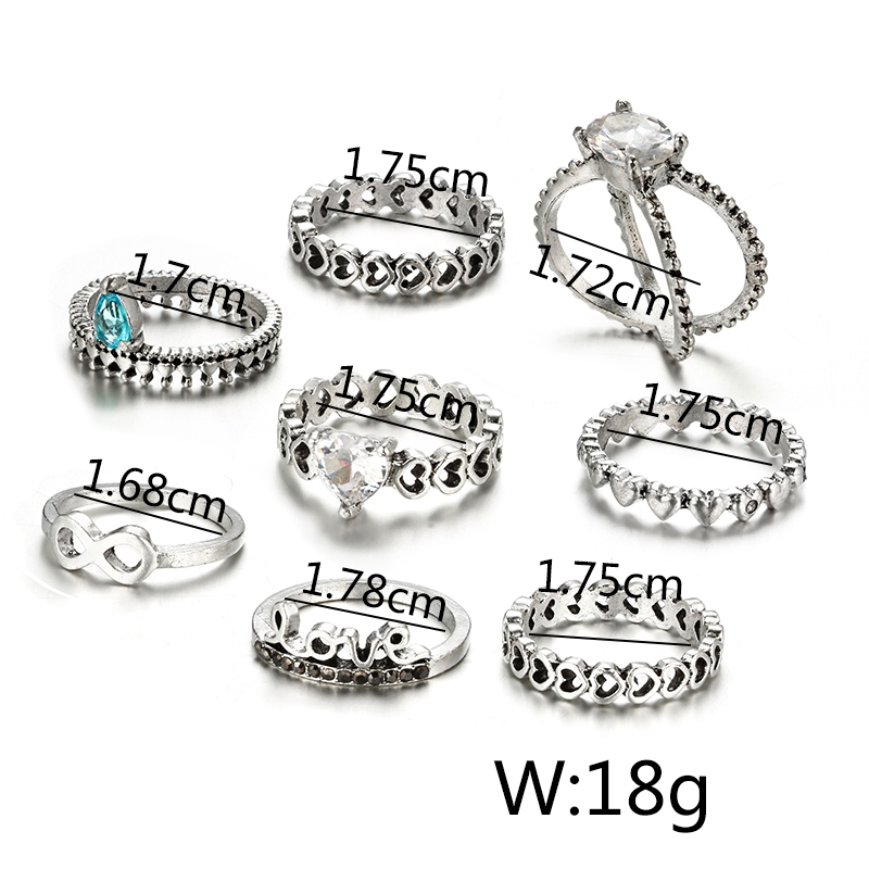 HuaTang Bohemian Antique Silver Ring Geometric Elephant Flower Green Rhinestone Knuckle Rings Midi Finger Anel Rings Jewelry 77