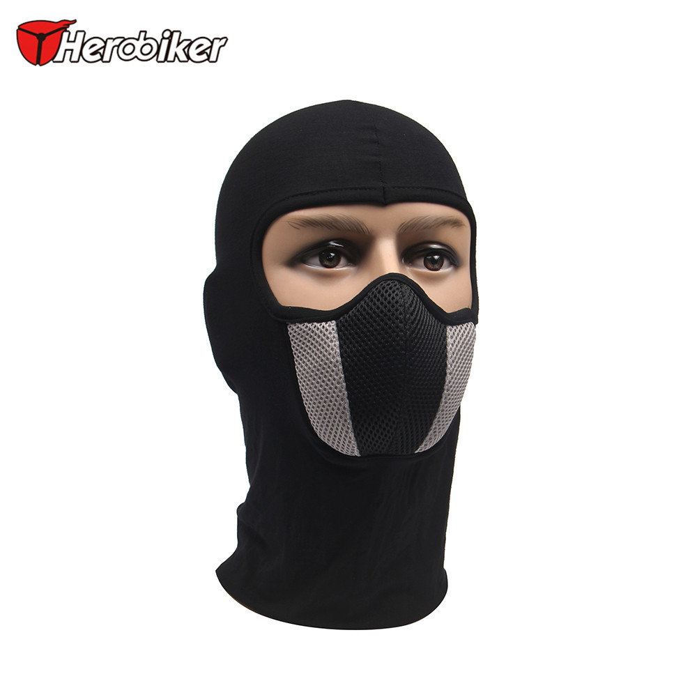 HEROBIKER Men's Motorcycle Face Mask Outdoor Motorcycle Helmet Hood Ski Sport Neck Face Mask Windproof Dustproof Red And Gray
