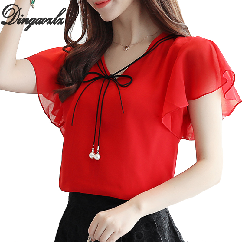 Dingaozlz blusa feminina Summer Tops For Women Casual Ruffles Chiffon Blouse shirt Solid color Plus size clothing 4XL in Blouses amp Shirts from Women 39 s Clothing