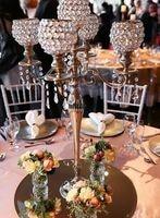 5 arms gold globe crystal centerpiece/tall pillar for wedding decoration