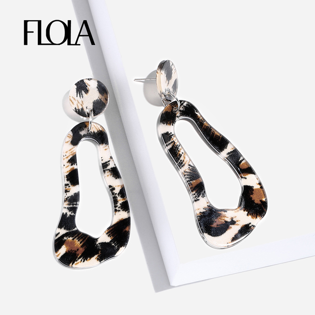 Flola Geometric Leopard Earrings For Vintage Acrylic Animal Print Oorbellen Za Resin Circle Drop
