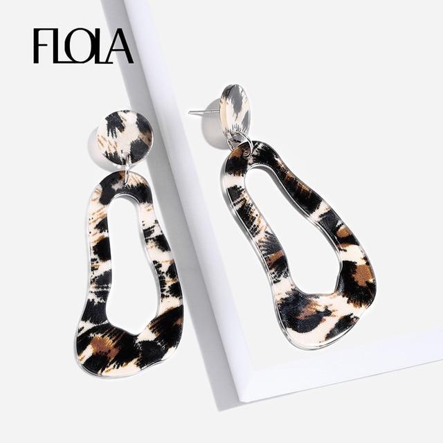 Flola Geometric Leopard Earrings For Vintage Acrylic Animal Print Oorbellen Za Resin Circle Drop
