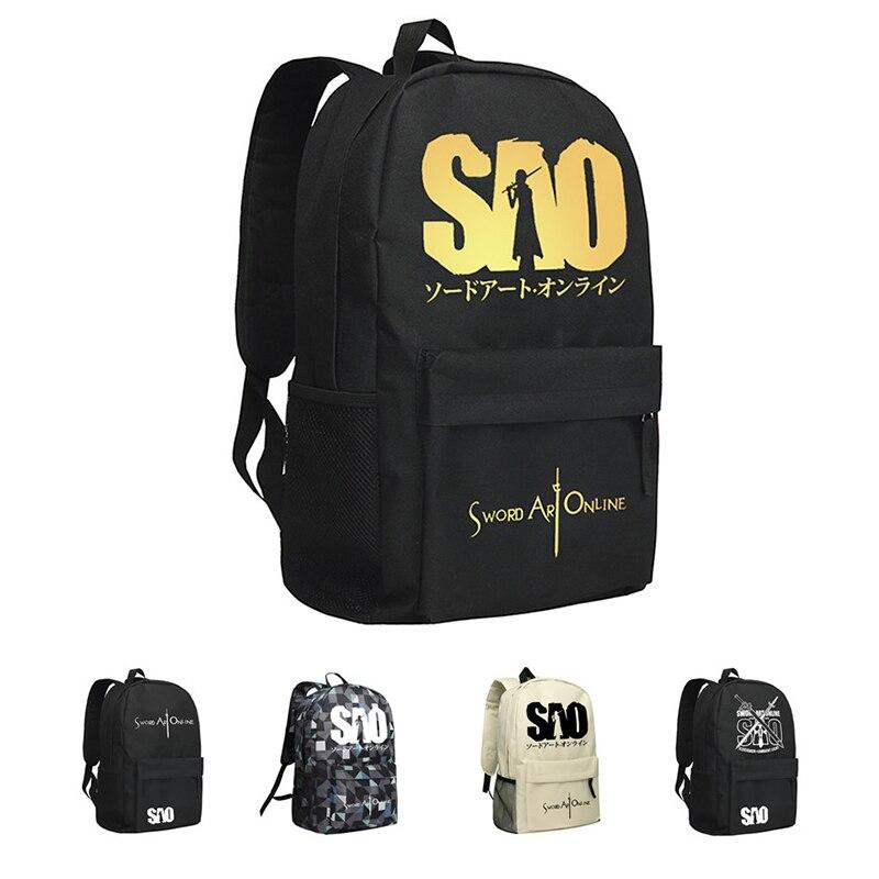 MeanCat SAO Sword Art Online Backpacks Nylon Black and White School Bags