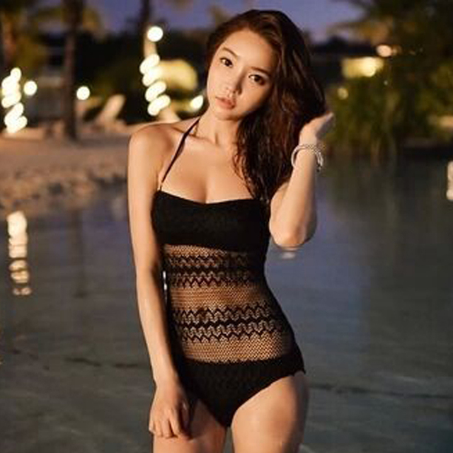 3ec67450fa694 2017 One Piece Mesh Black Swimsuit Swimwear Women Transparent Bathing Suit  Maillot De Bain Femme Monokini Hollow Out Bikini Lace