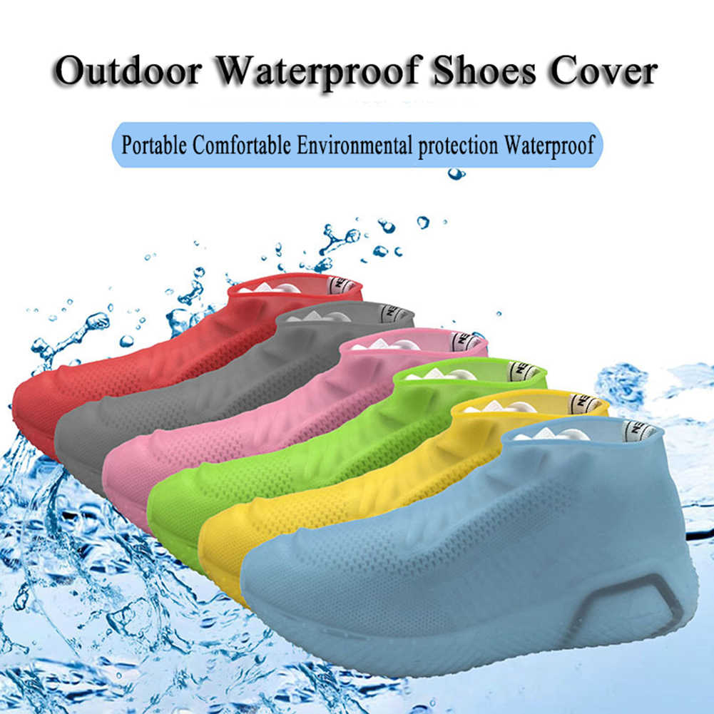 Reusable Non-slip Rain Shoes Covers  Waterproof Silicone Shoe Cover Outdoor Camping S/M/L Solid Color Shoes Accessories 2019 New