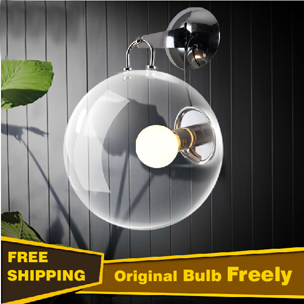 Italian design clear glass ball wall lamp soap bubbles wall lights for home bedroom modern sconces lamps novelty led wall lamps glass ball wall lights for home decor e27 ac220v