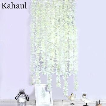 10pcs 100cm long wisteria artificial flower rattan white silk hydrangea vine DIY party birthday wedding backdrop wall decoration