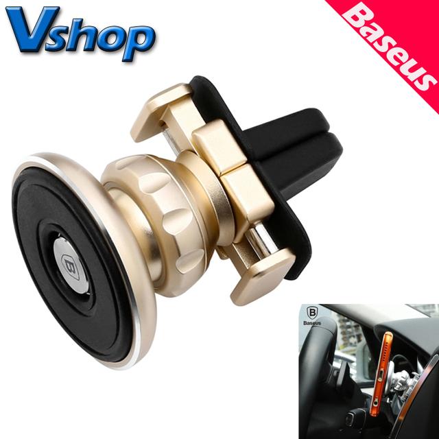 Baseus oro aromatización magnética de 360 grados de rotación de coches air vent mount teléfonos y tablets holder soporte de aluminio + silicona