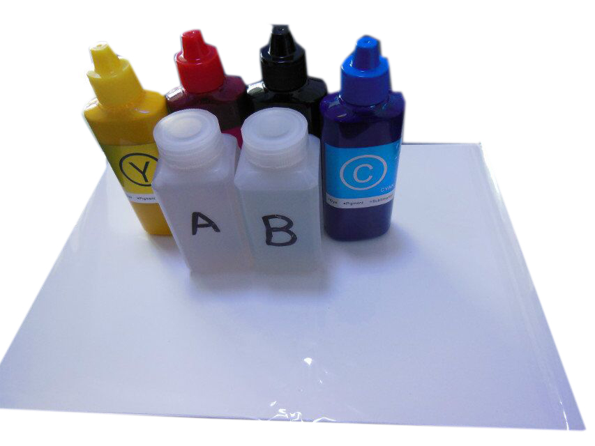 100ml Activator A & B + 10 Pcs A4 size hydrographic film + 4pcs Pigment ink For Water Printing For epson printer