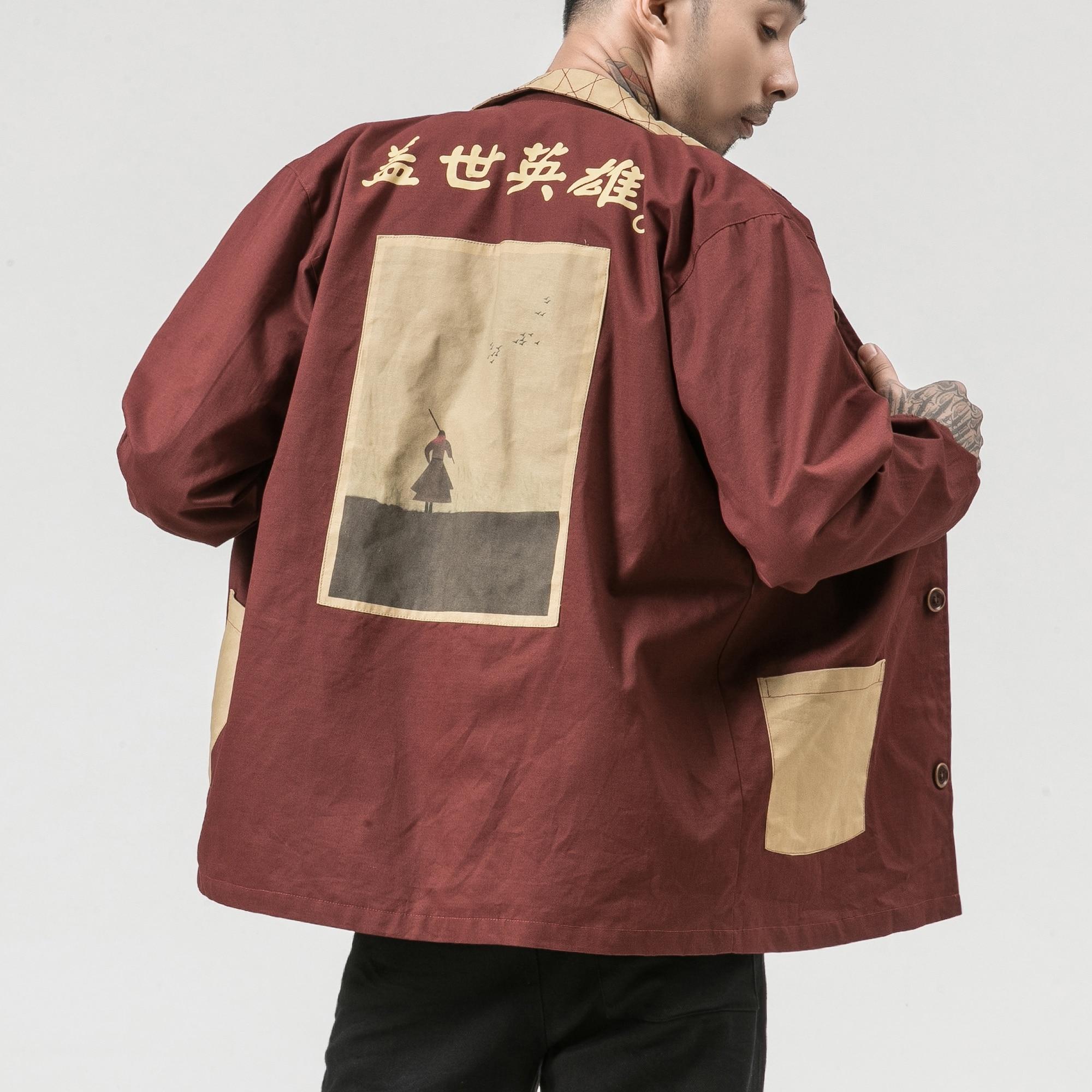 Windbreaker Men's Long Sleeve Section Print Personality Pocket Shirt Autumn Loose Retro Chinese Style Men's Chinese Jacket