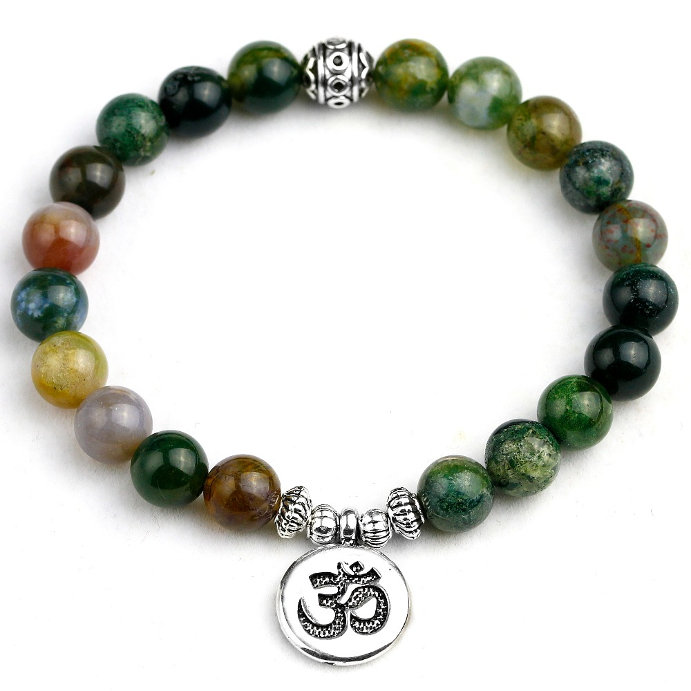 Natural Indian Onyx Women Charm Bracelet Mix OM Buddha Lotus Strand Lovers Lucky 8MM Beads Bracelets Adjustable Jewelry