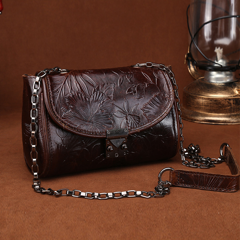 Famous Brand Oil Wax Cowhide Women Small Shoulder Bag Vintage National Style Embossed Genuine Leather Crossbody Messenger Bags