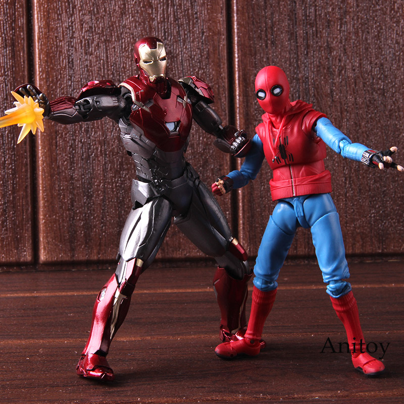 SHF S. H. Figuarts Spiderman costume maison Ver. Et Iron Man MK47 PVC Spider-Man retour Figure Action modèle à collectionner jouet