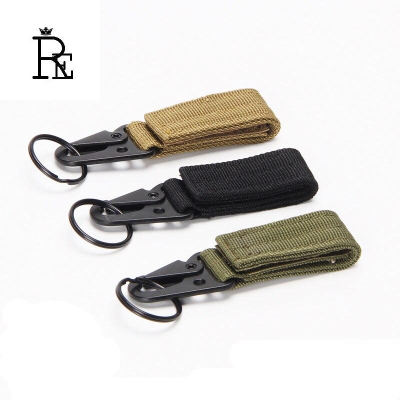 Outdoor Tactical Nylon Webbing Key Chain Multifunctional Mountaineering Olecranon Hook Keyring Military Belt Buckle Keychain B30