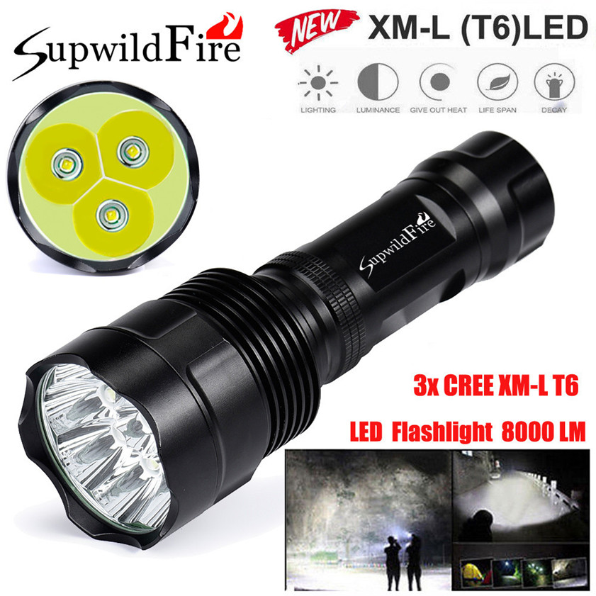 Super Bright 8000Lm 3x CREE XM-L T6 LED 5-Mode 18650 Flashlight Torch Light Lamp 170509 cree xm l t6 bicycle light 6000lumens bike light 7modes torch zoomable led flashlight 18650 battery charger bicycle clip