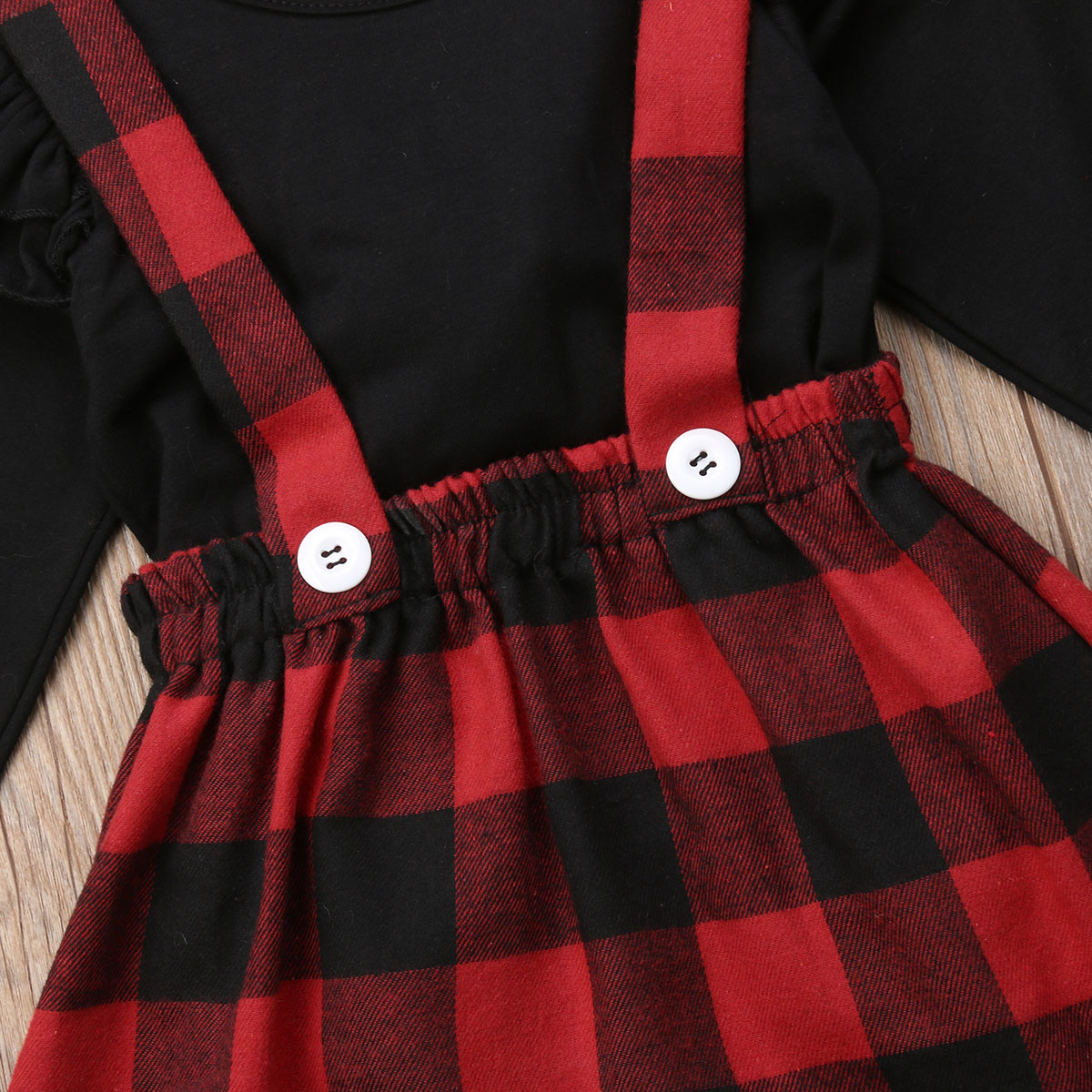 Christmas Plaid Red Dress Toddler Baby Girls Cotton Checked Outfits