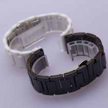 Black White Ceramic with silver stainless steel buckle Watchbands 14mm 16mm 18mm 20mm bright beautiful watch