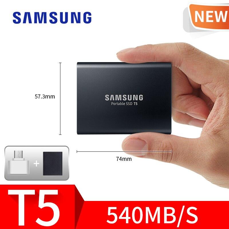 Samsung T5 portable disque dur ssd 1 tb 2 TB 500 GB 250 GB EXTERNE Solid State Drives USB 3.1 Gen2 Et en arrière compatible pour PC
