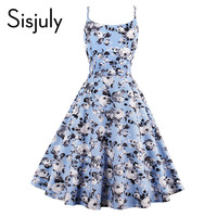 Sisjuly Vintage Dresses 2017 Summer Print Floral 1950s Style Elegant Party Dress Patchwork Sleeveless Pretty Vintage