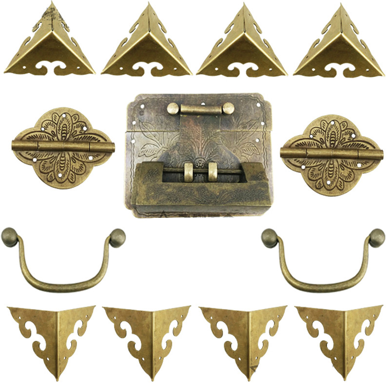 Chinese Vintage Brass Lock Set For For Wooden Box,Vase Buckle Hasp Latch Lock+ Hinge+Corner+Handle,Bronze Tone case box corners for furniture decor triangle flower side wooden box 3 sides corner bronze tone yellow white 19mm 50pcs
