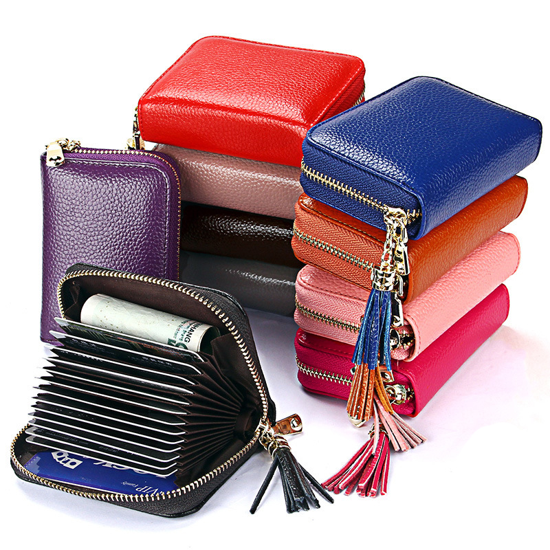 2018 Fashion Short Real Leather Women Wallets With Tassel Money Wallet Coin Purse Pocket Female Rfid Card Holders Dollar Bag