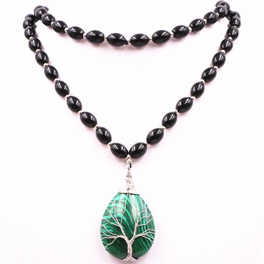 Unique Black Natural Agates Long Chain Beads Necklace for Women Stone Malachite Drop Pendants Strand Necklaces Jewelry 32″ A560
