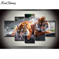 REALSHINING 5D Diamond Embroidery Tigers picture 5PCS Multi picture 3d DIY Rhinestones Painting Home Decoration Needlework FS889