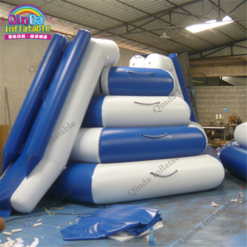 4*4*3m with 2 Lanes Inflatable Slide Water Sports Games,Amusement Park Pool Float Water Slide children shark blue inflatable water slide with blower for pool