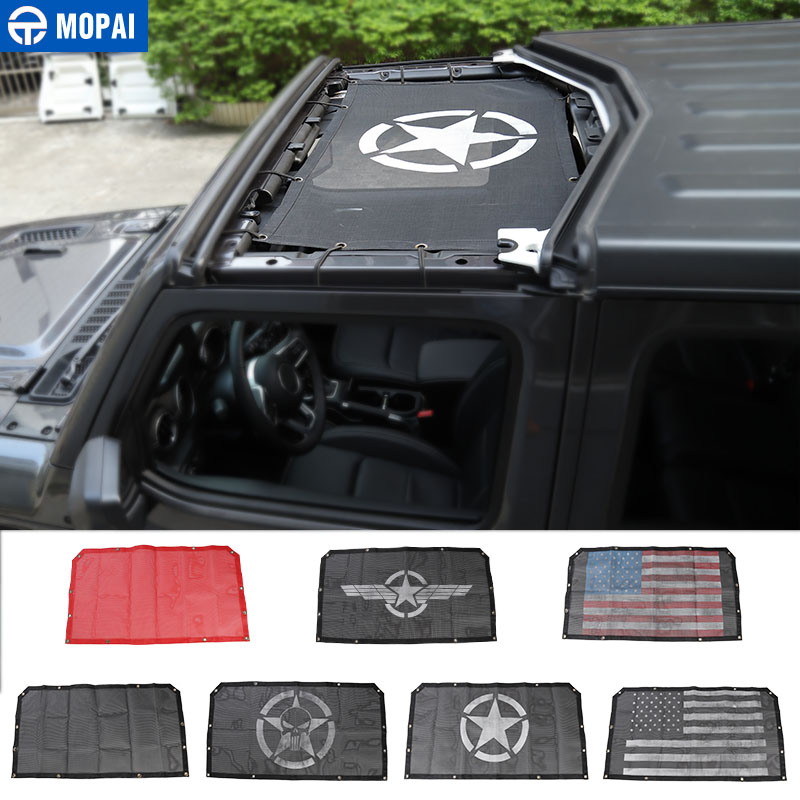 MOPAI Car Top Sunshade Cover for Jeep Wrangler JL 2018 Roof Anti UV Sun Protection Mesh Net for Jeep JL Wrangler Accessories