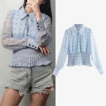 women blouse 2019 new long sleeve peter pan collar print elastic waist ladies blouses tops casual chiffon puff blusas