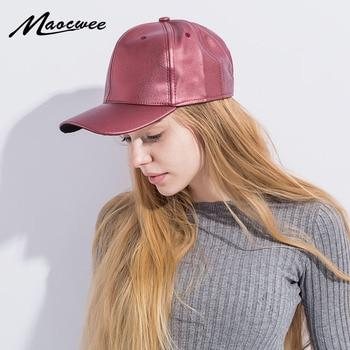 PU sombreros sólido cuero negro mujeres casquillo de béisbol adulto Gorras  Casual Snapback sombrero para hombres mujeres béisbol casquette d0a5c3704e8