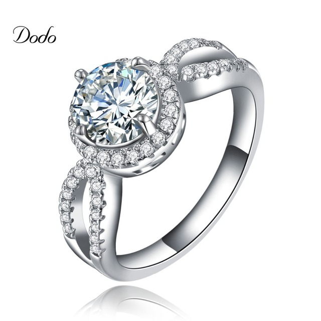 Luxury wedding rings platinum plated CZ diamond jewelry for women fashion round engagement bague femme accessories female  DR076