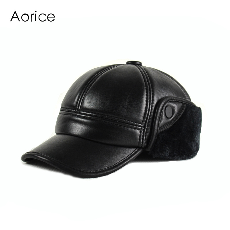 Aorice Winter Genuine Leather Baseball Cap Hat Men Winter Brand Cow Skin Leather Sport Hats Caps Black Faux Fur Inside HL165-F 1 pcs autumn winter hot sell knitted cap brand skullies beanies hats for men caps 4 colors 8514