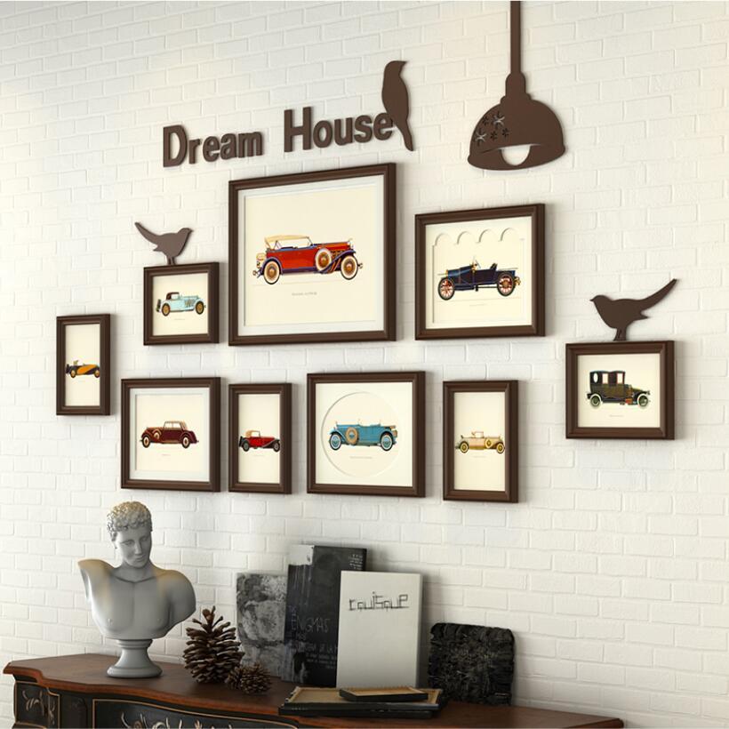 Hot Sale 9pcs Set Wooden Photo Frame Vintage Picture Frame For Wall Decoration Frames Set For Home Decor Porta Retrato Moldura