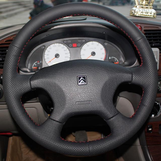 Caso para Citroen C-elysee tampa da roda de direcção Do Carro de couro Genuíno Anti-sliip cobertura estilo Do Carro DIY mão costura