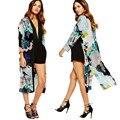 Feitong Mulheres Verão Blusas de Chiffon Kimono Cardigan Casual Floral Imprimir Manga Comprida Tops blusa mujer feminino Plus Size