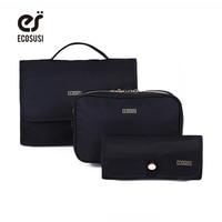 ECOSUSI New Fashion Travel Cosmetic Cases Multifunction Makeup Organizer Bag Women Nylon Toiletry Kits Makeup Bags
