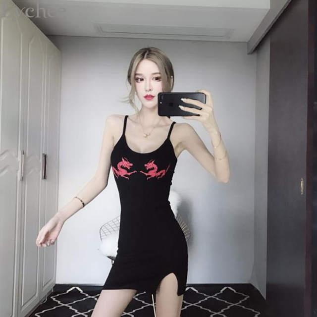 b1c79eb185530 Lychee Sexy Dragon Print Slit Sumnner Women Dress Sleeveless Skinny Dresses  Causal Slim Backless Dress Female